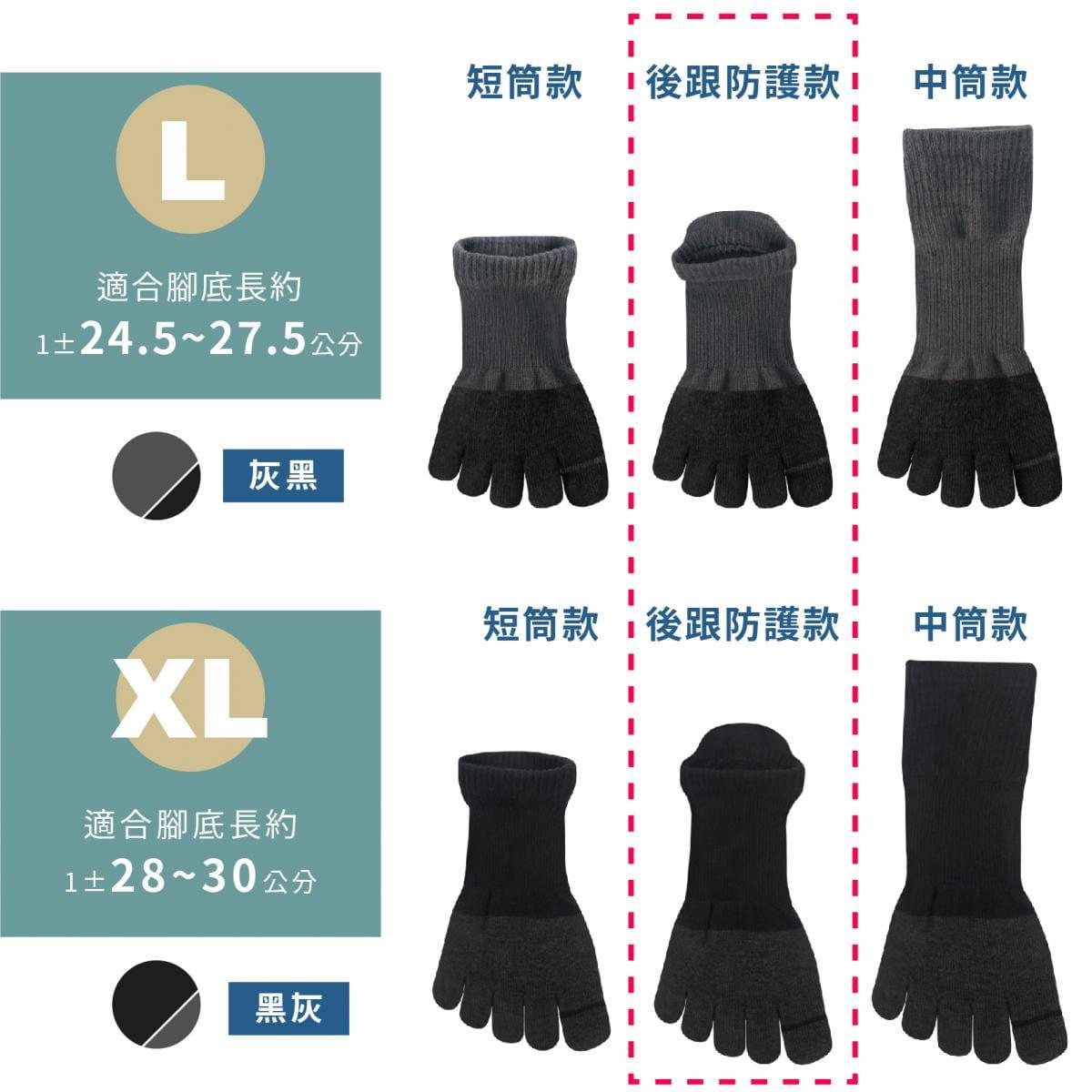 【FAV】後跟防護加壓五指運動襪-1雙入 10
