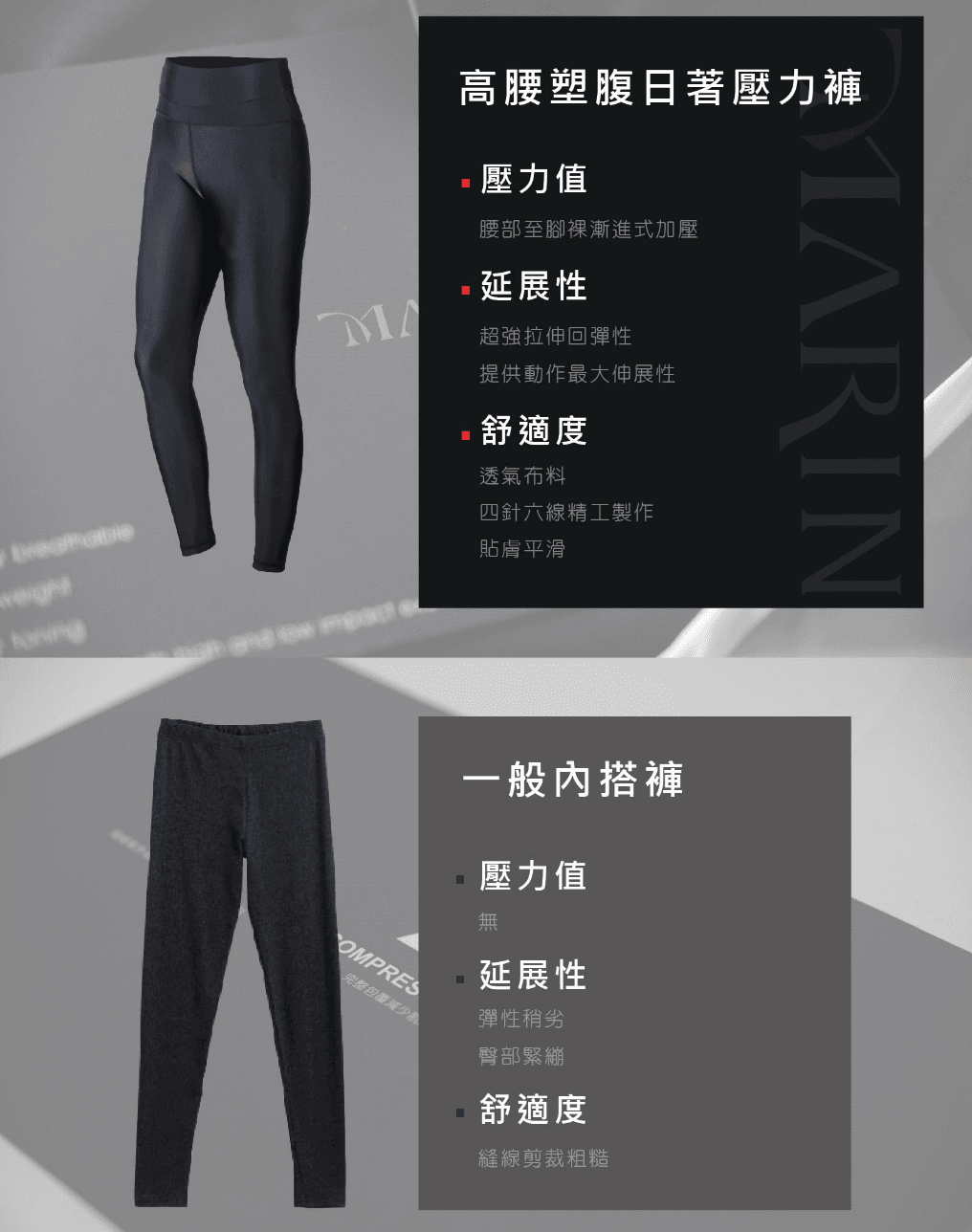 【MARIN】台灣製-高腰塑腹日著壓力褲 5