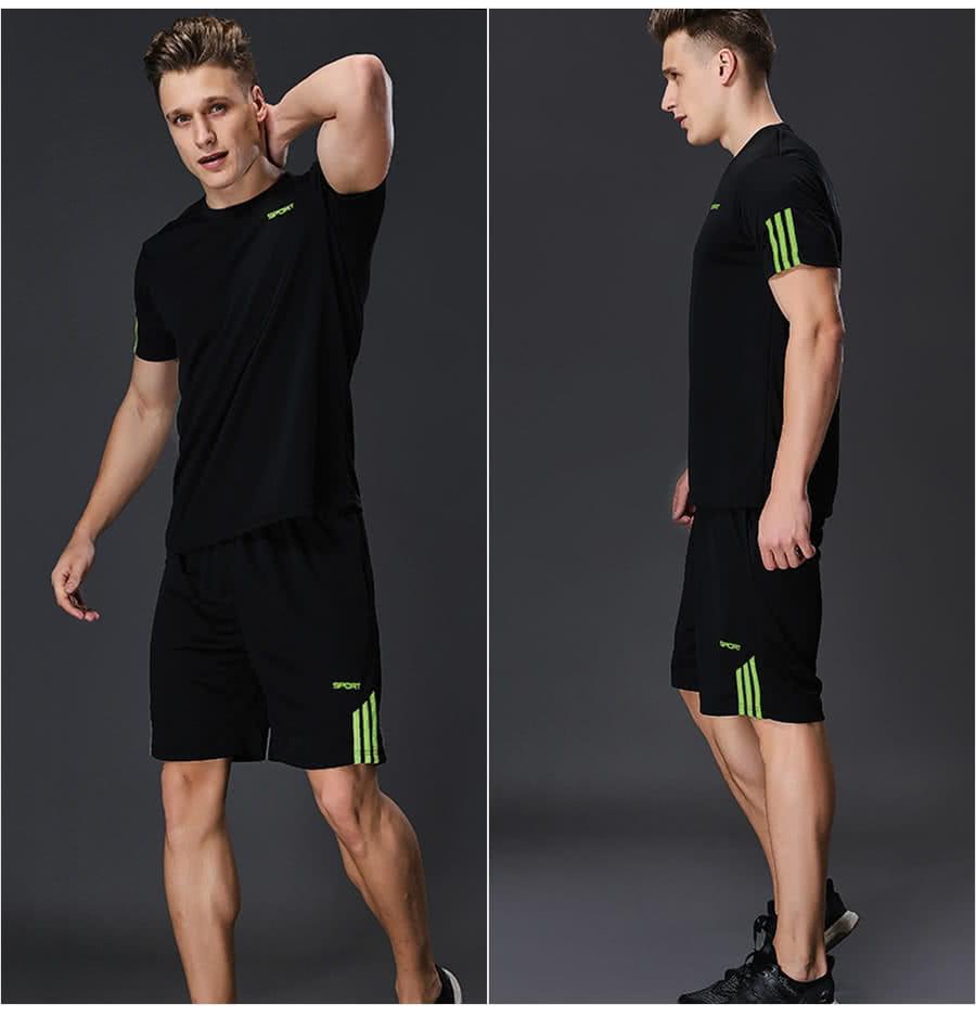 【Un-Sport高機能】SPORT男專業瞬間吸排二件式運動套裝(健身/路跑/籃球)短袖+短褲 2