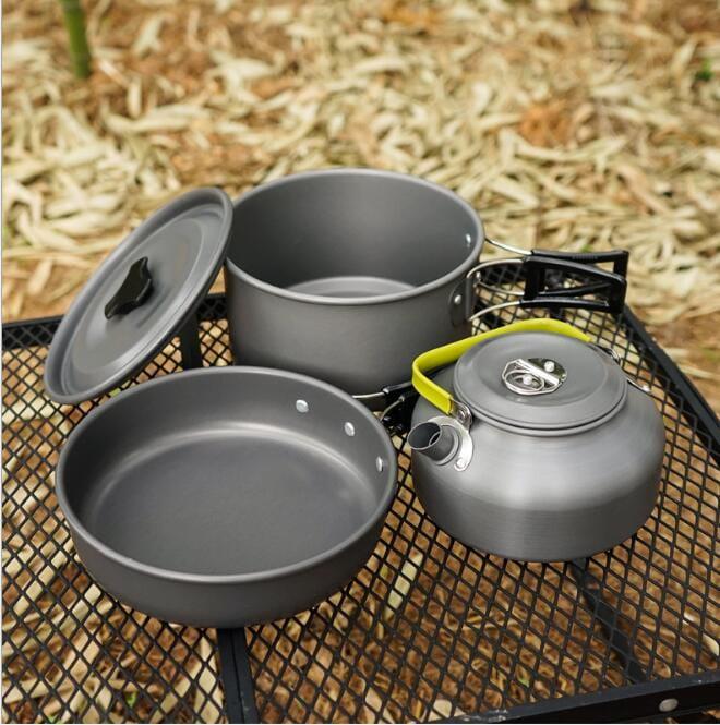 戶外野營便攜9件組不沾鍋+水壺 套鍋組(3-4人) 5