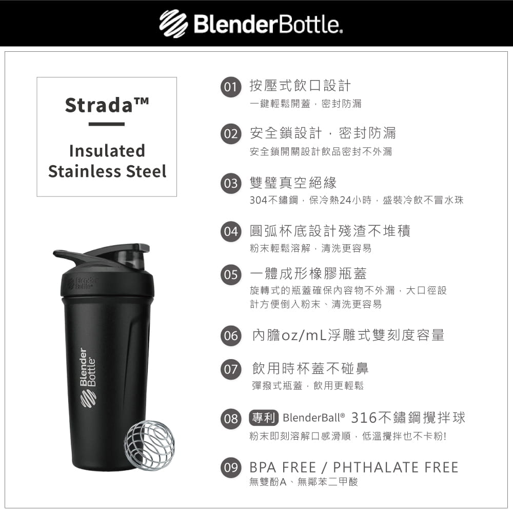 【Blender Bottle】Strada系列-不鏽鋼旋蓋式搖搖杯24oz(色) 4
