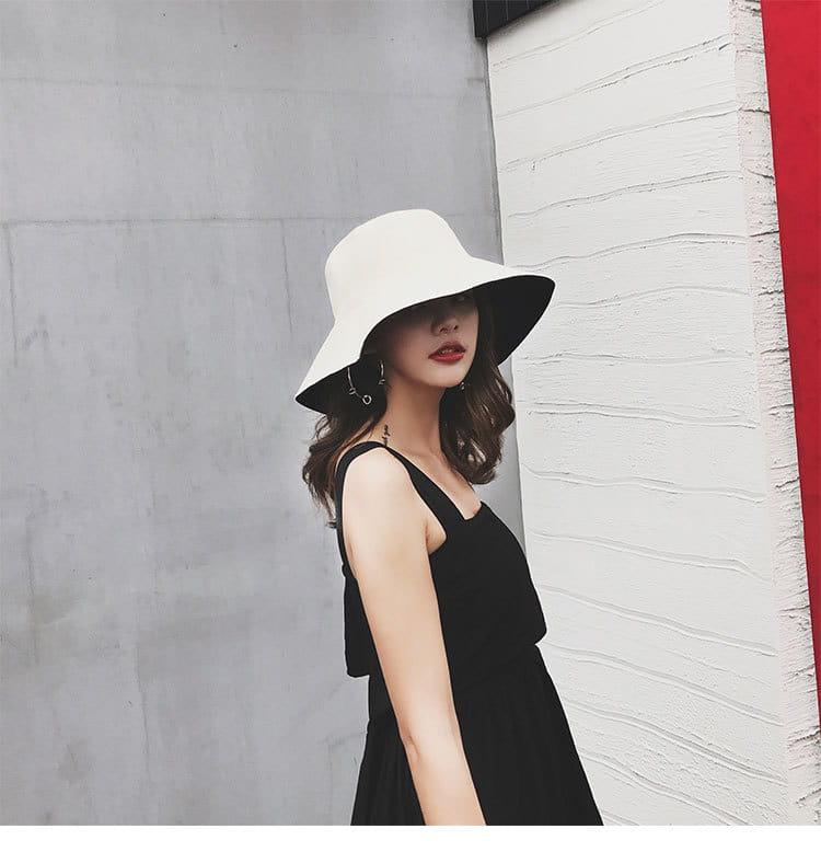 雙面透氣小臉遮陽帽 日系雙面拼色摺疊遮陽帽 大帽沿 2