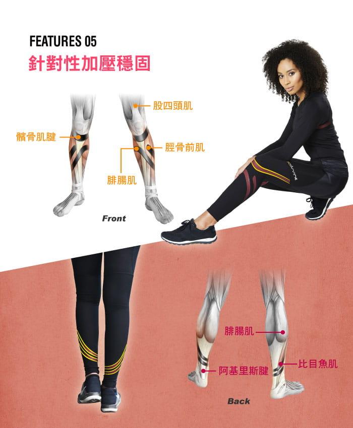 BodyVine 肌穩貼紮運動壓縮女長褲(膝蓋與小腿穩固) 3