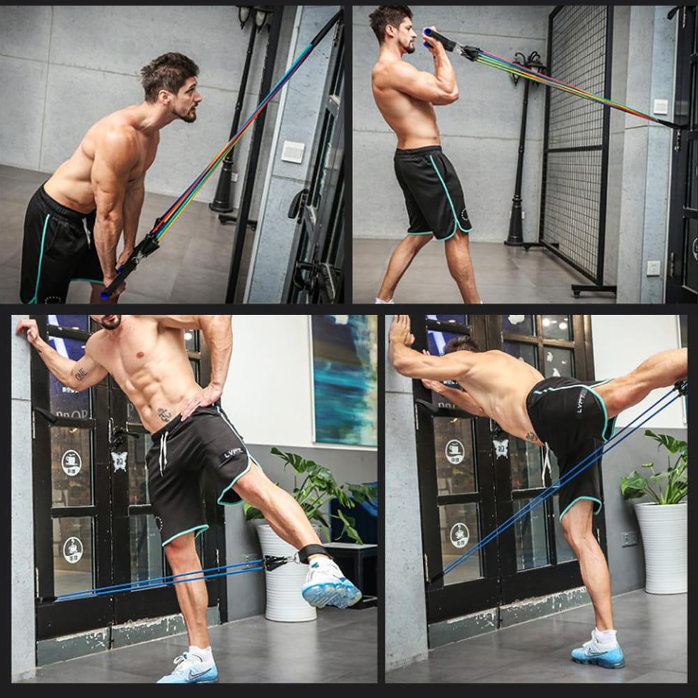 健身彈力帶11件組 阻力繩 (10LB~100LB) 5