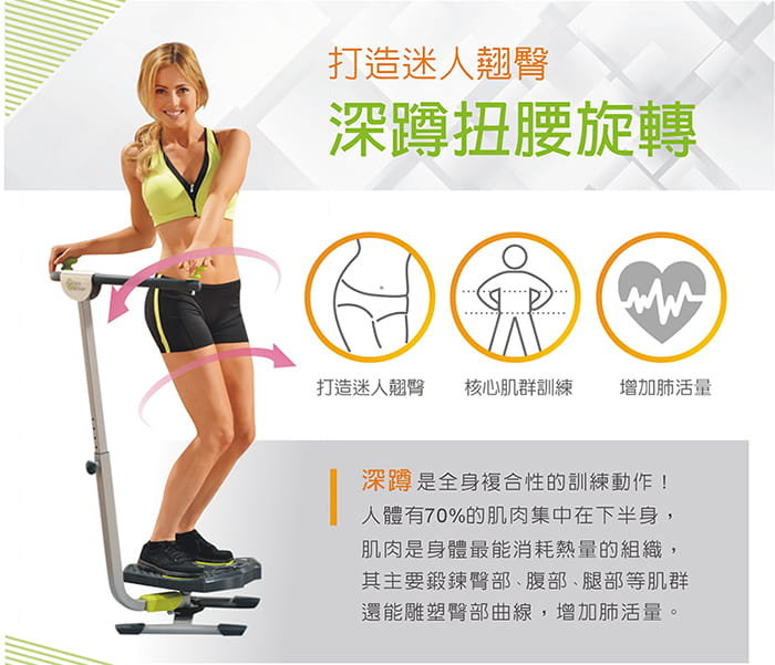 Twist&Shape曲線搖擺健腹機 折疊版 保固一年  贈綠色有氧瑜珈墊 8