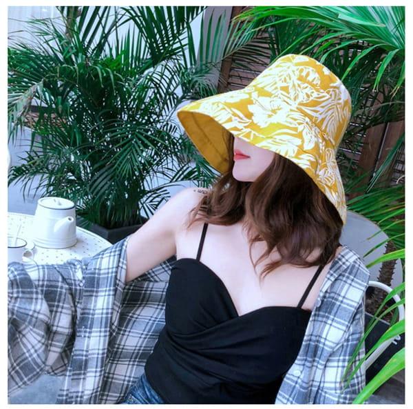日系雙面拼色摺疊遮陽帽 8