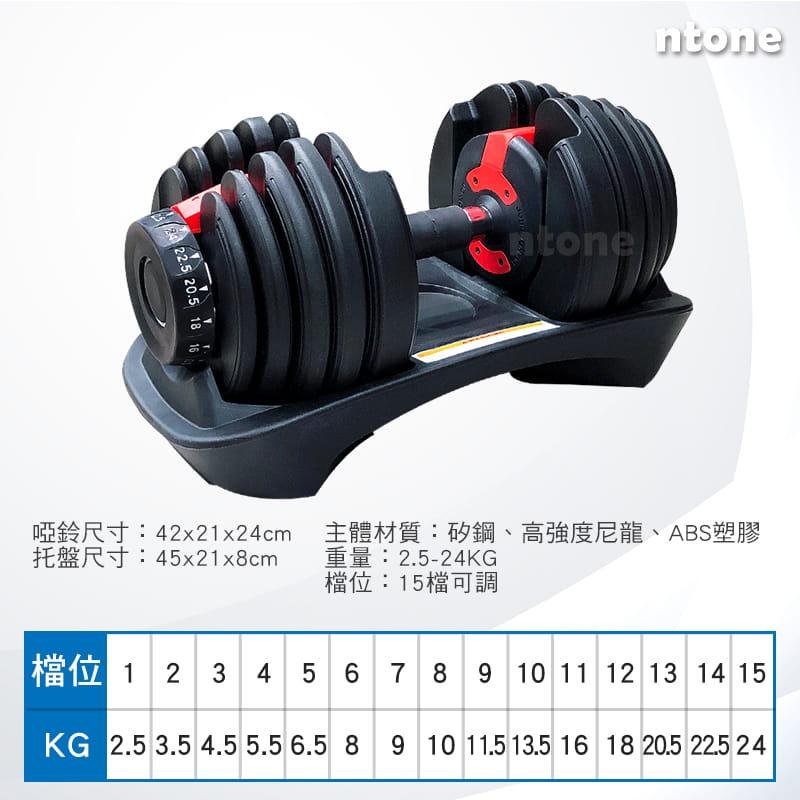 24KG可調式啞鈴 15檔旋轉調節 3