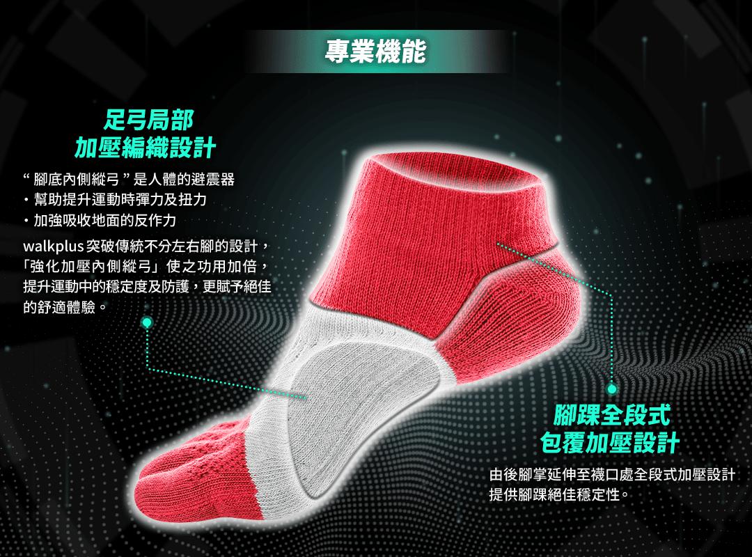 [WALKPLUS]側向足弓加壓款-健將五指襪2.0(M號)5雙 1