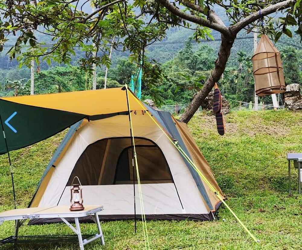 駝綠色自動速開家庭3-4人帳篷 防暴雨抗紫外線沙灘釣魚帳篷 0
