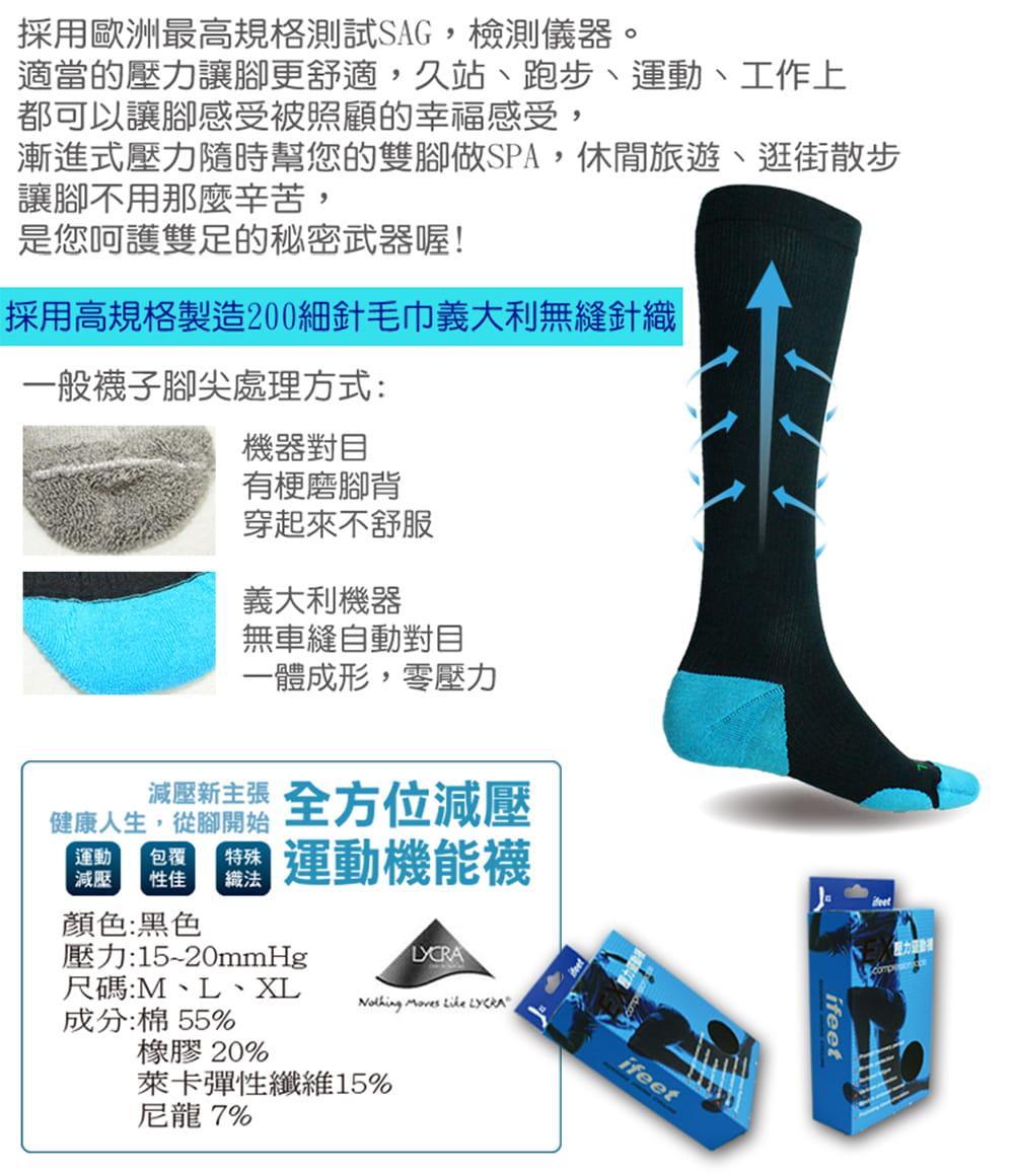 【IFEET】(9609)漸進式長筒壓力運動襪 3