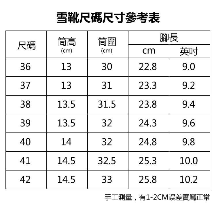 防水保暖防滑厚毛絨雪靴(36-42碼/3色可選) 19