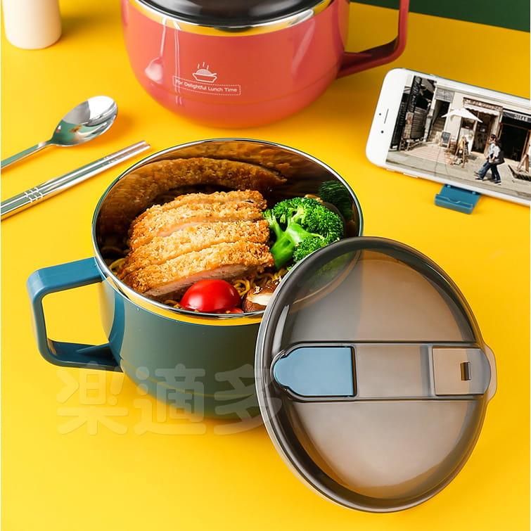【1300ml】304不鏽鋼泡麵碗 蓋子可瀝水 蓋子可當手機架 SG9139泡麵碗 304不鏽鋼碗 17