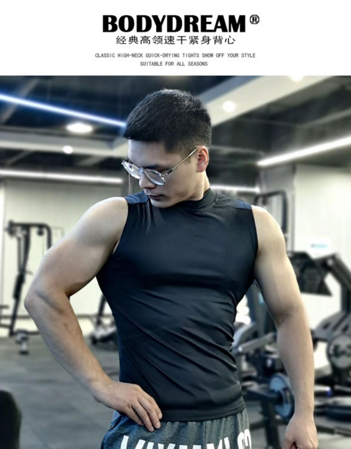 (快速出貨) 男士運動背心無袖緊身速乾運動彈力坎肩健身T恤高領訓練背心 1