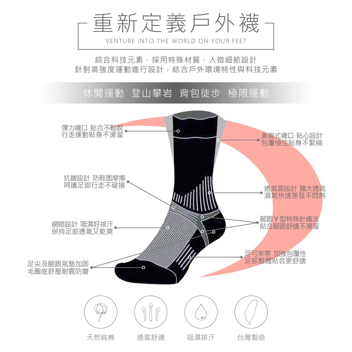 【Lin】戶外登山襪三雙組 13