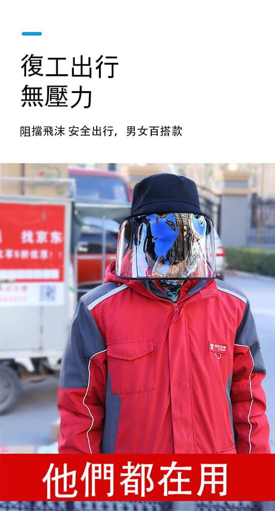 【台灣現貨】防護帽 防飛沫帽 透明面罩  飛沫阻擋 防護面罩  隔離唾沫 防疫用品 5