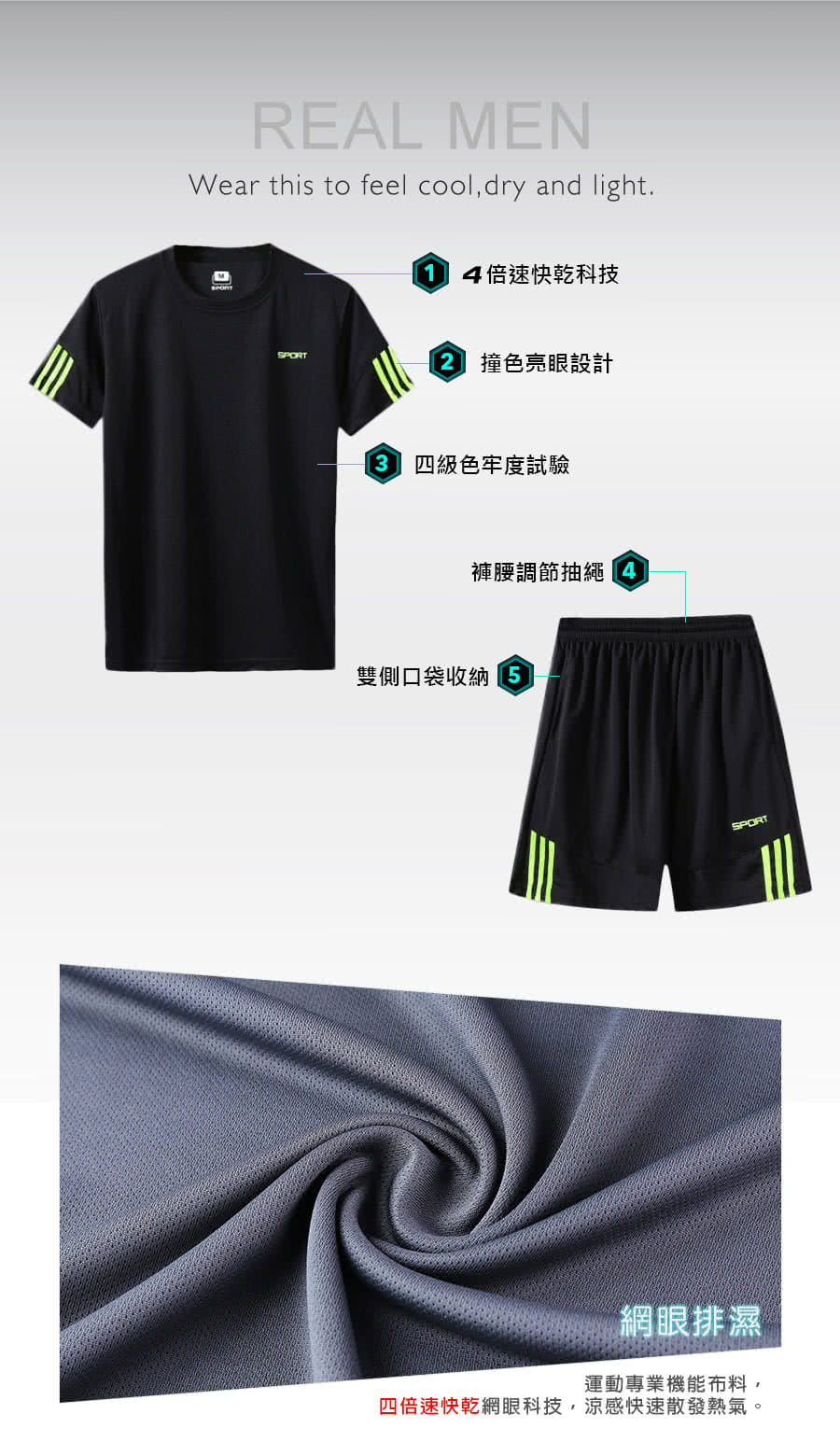 【Un-Sport高機能】SPORT男專業瞬間吸排二件式運動套裝(健身/路跑/籃球)短袖+短褲 3