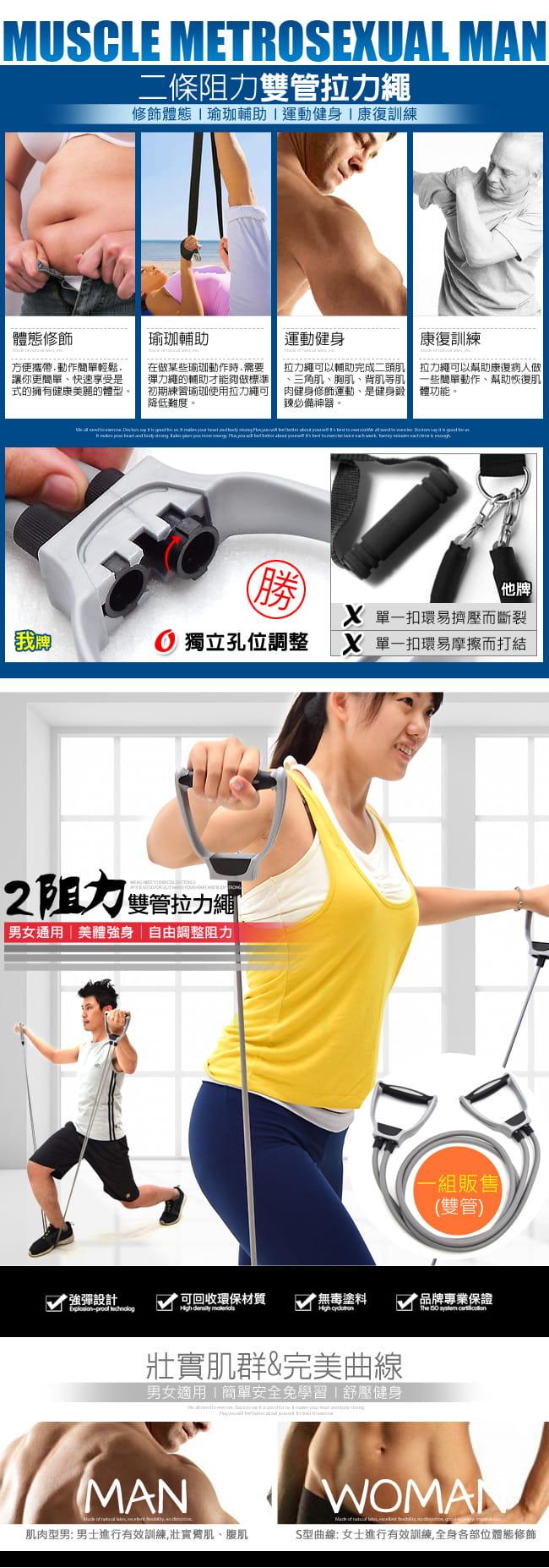 台灣製造!!雙管拉力繩    阻力彈力繩拉力器 1