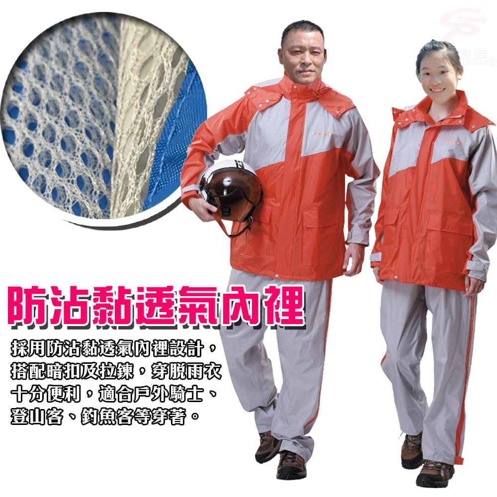 【金德恩】飛馳型兩件式套裝雨衣 5