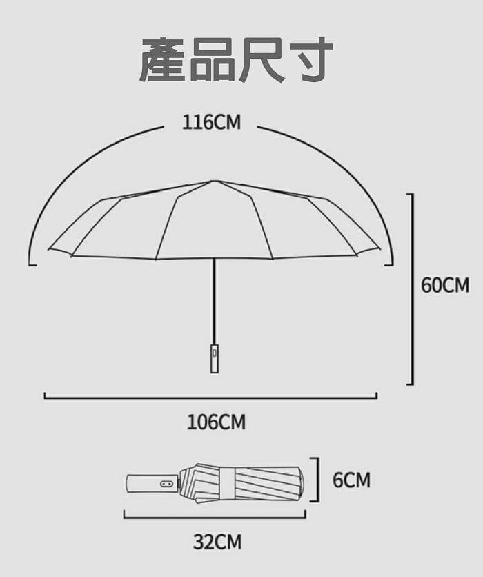 12骨全自動黑膠晴雨傘 9