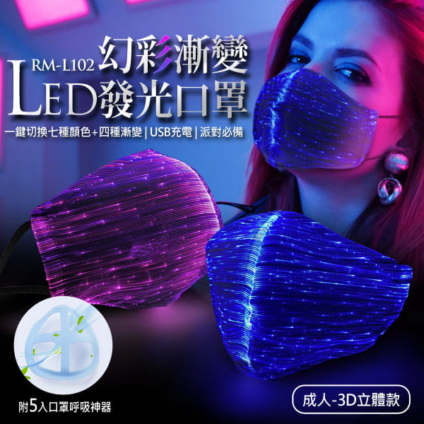 RM-L102 幻彩漸變LED發光口罩 成人3D立體款(附5入口罩呼吸神器)
