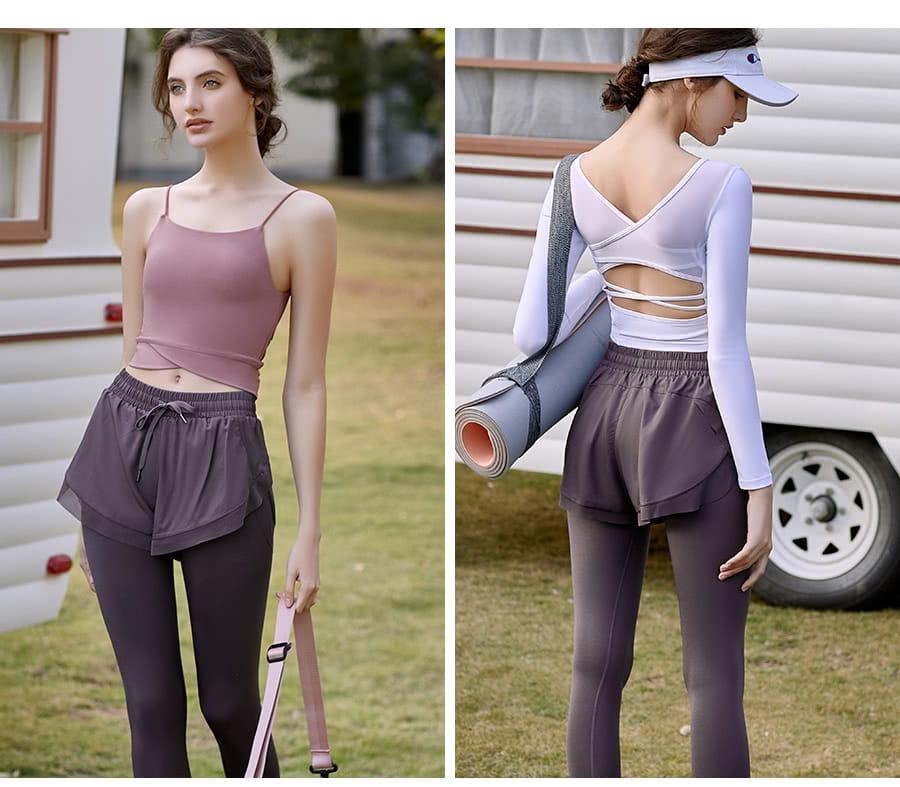 【Un-Sport 高機能】多款任選-異質拼接顯瘦假兩件長褲(瑜伽/健身/路跑) 5