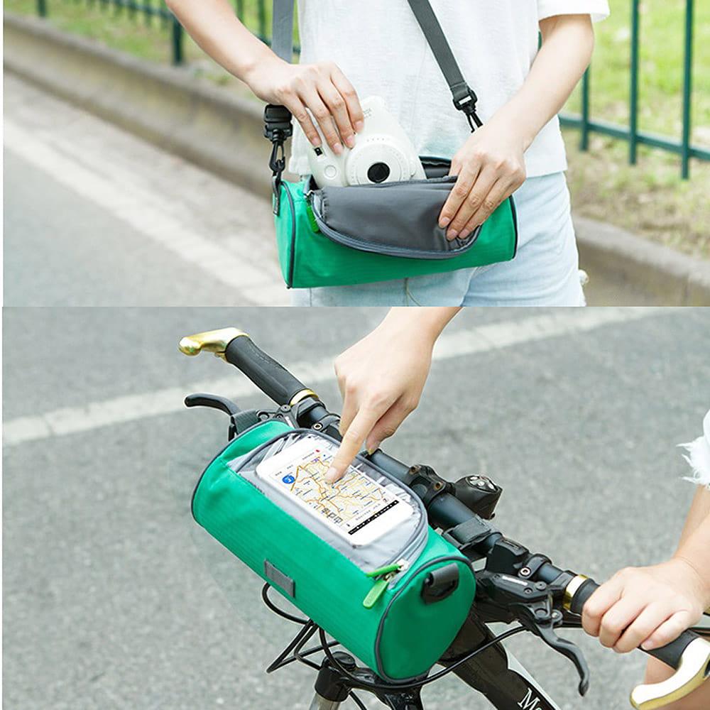 可斜揹多功能自行車手機觸控圓筒包
