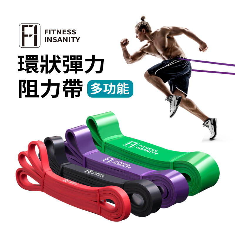 【FitnessInsanity】多功能環狀彈力帶 阻力带4件組 0