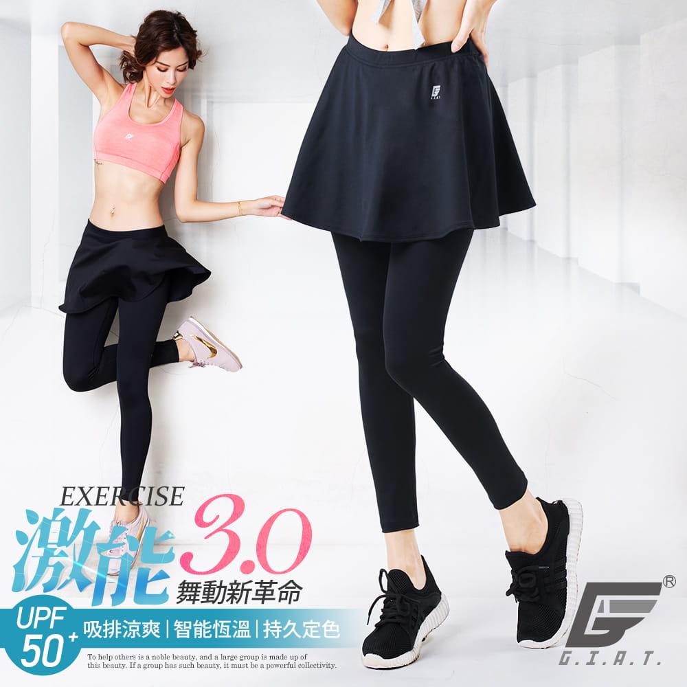 【GIAT】台灣製激能3.0排汗防曬壓力裙褲 0
