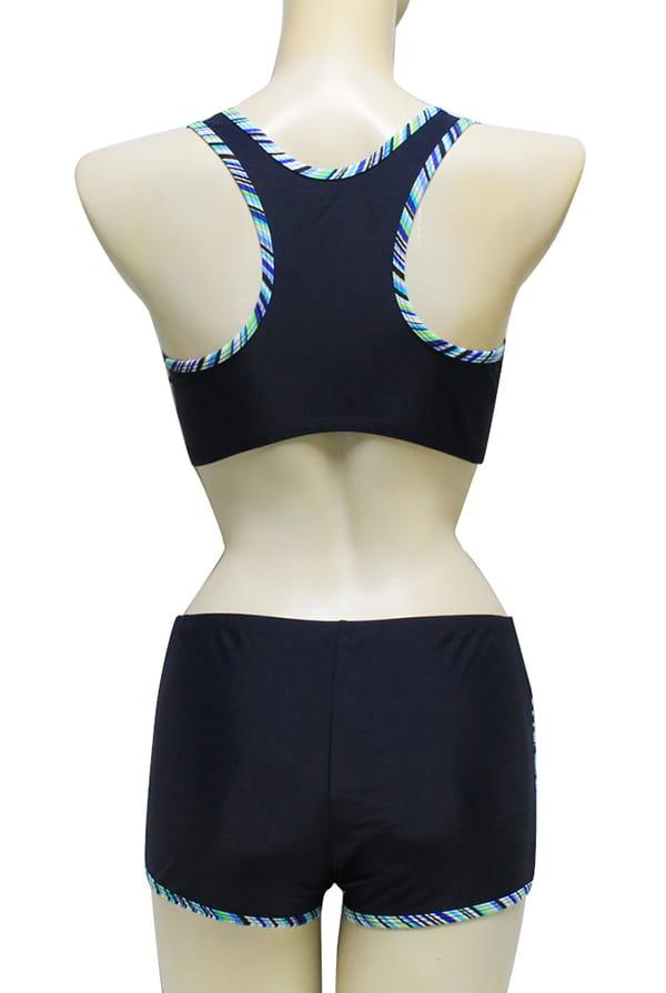 【AGE BOAT】大女藍色水波紋外罩衫內搭運動型泳衣三件式泳衣M8430 7