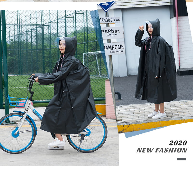 多功能時尚雨衣-英倫風收縮繩設計 多種穿法 可背背包 17