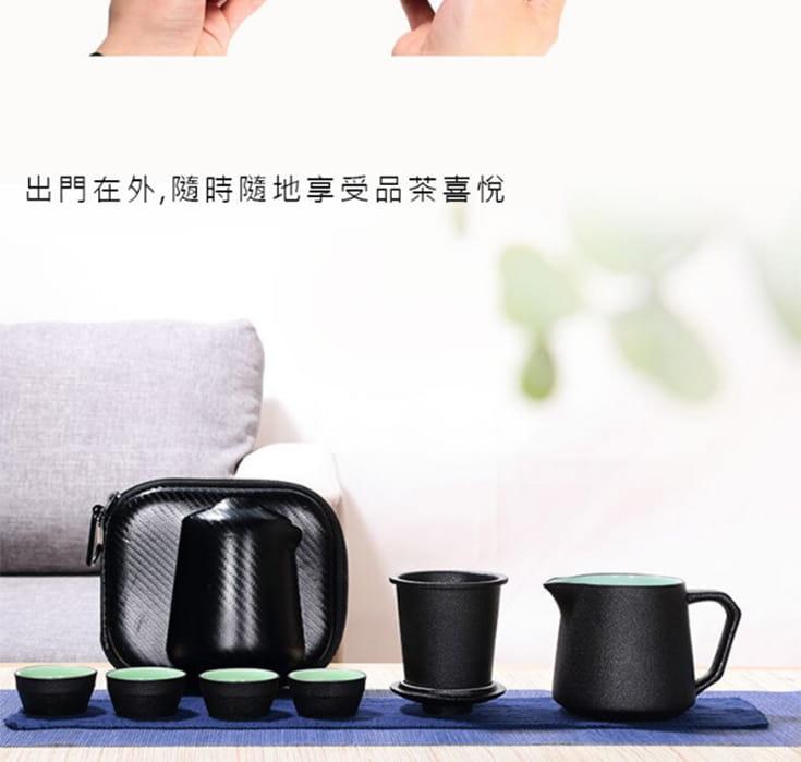 戶外露營便攜旅行茶具套組-1壺4杯杯具泡茶壺 7