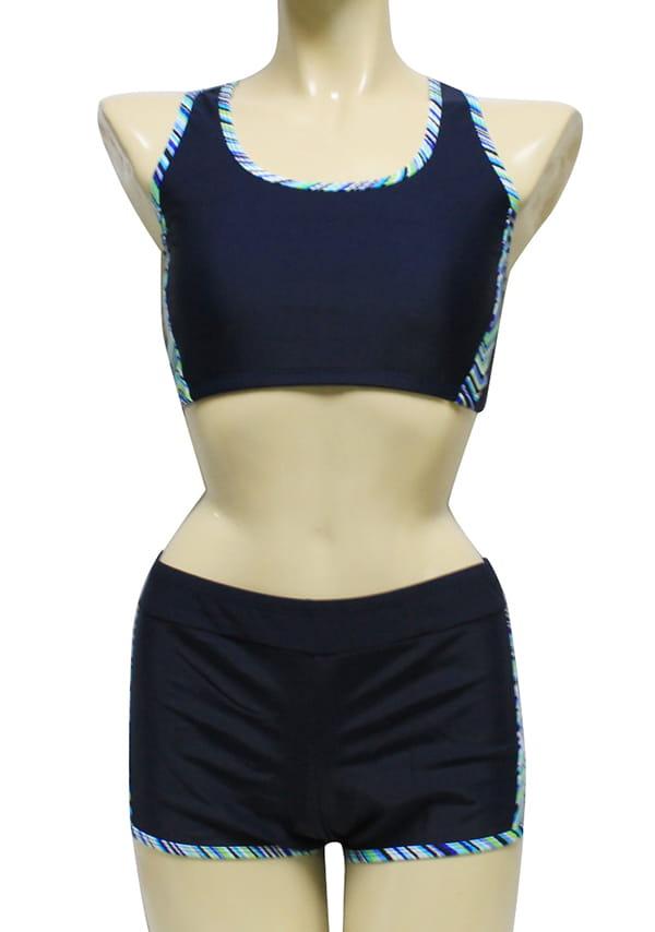 【AGE BOAT】大女藍色水波紋外罩衫內搭運動型泳衣三件式泳衣M8430 6