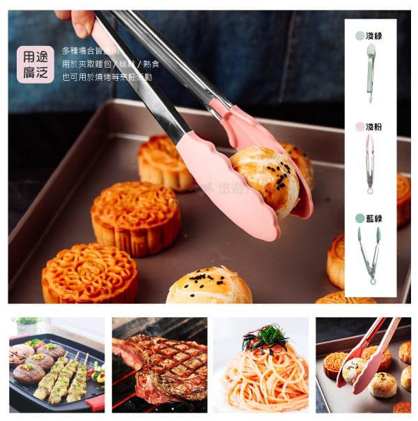 【悠遊戶外】耐熱矽膠不鏽鋼食物夾 7
