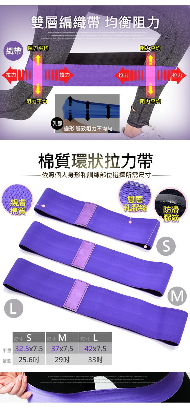 棉質防滑環狀彈力帶(加厚不捲邊) 翹臀圈乳膠阻力繩拉筋阻力帶 3