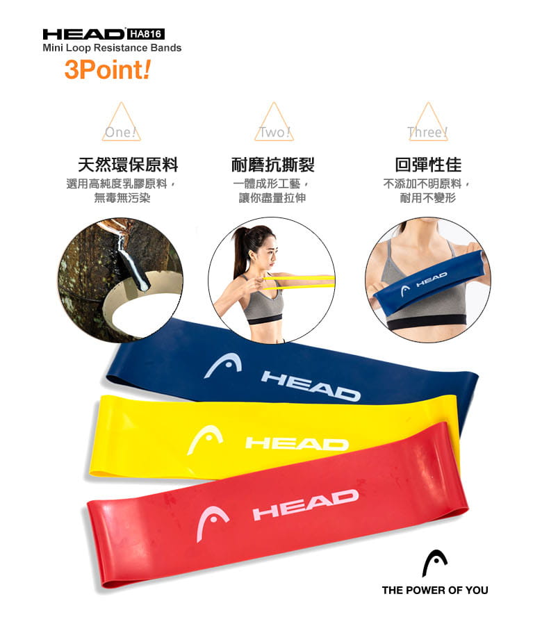 【HEAD】加寬版環狀彈力帶-3入磅數9/14/18kg 5