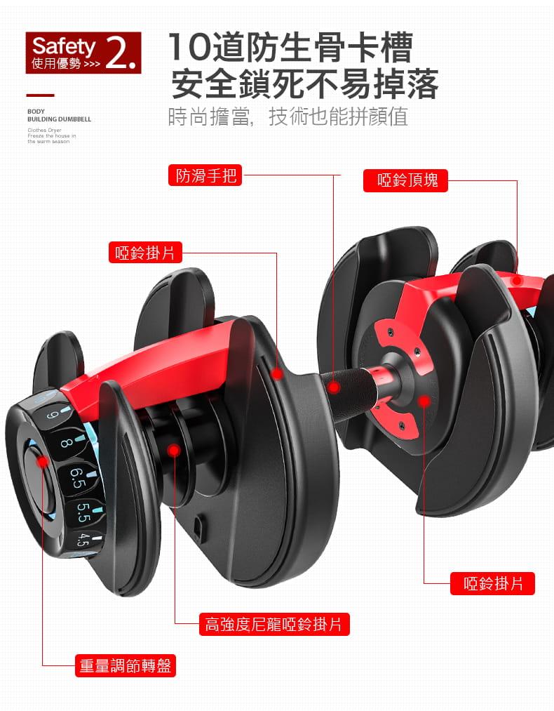 【快速調整型啞鈴】24KG 52磅 15段重量 可調式啞鈴 3