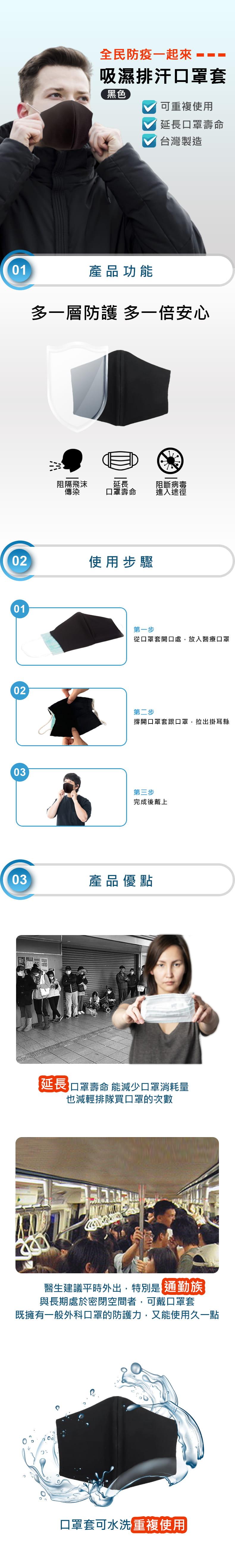 【MIT】吸濕排汗口罩套(3入組) 4