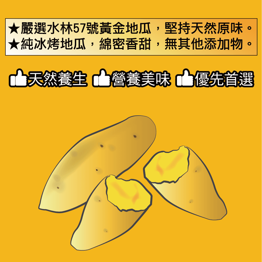 【田食原】-新鮮黃金小冰烤地瓜 300g 冰心地瓜 養生 健康 健身餐 美食 好吃 2