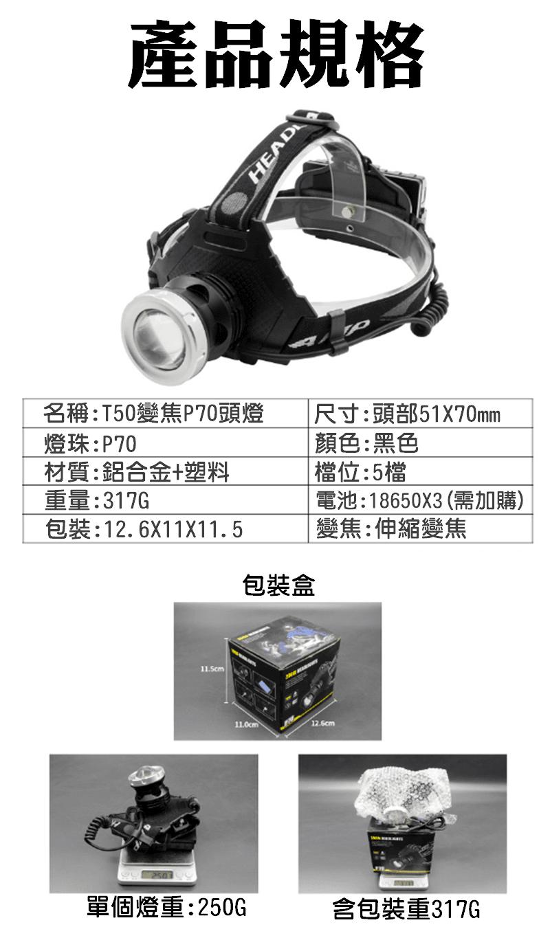 T50型變焦P70頭燈+USB線(單賣) 2
