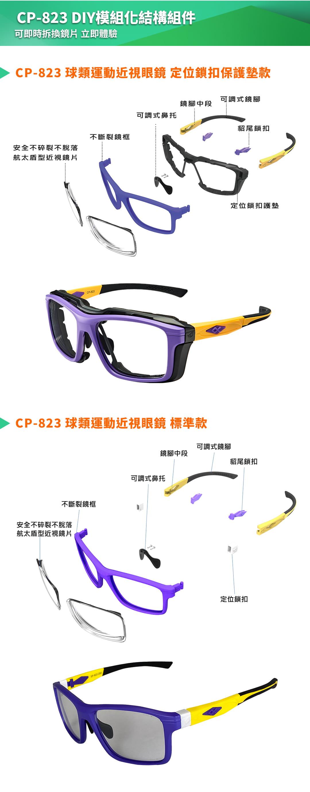 SABLE黑貂光學-專屬球類運動眼鏡CP-823(標準款-無保護墊)+SP-03(平光精緻鍍膜鏡片) 15