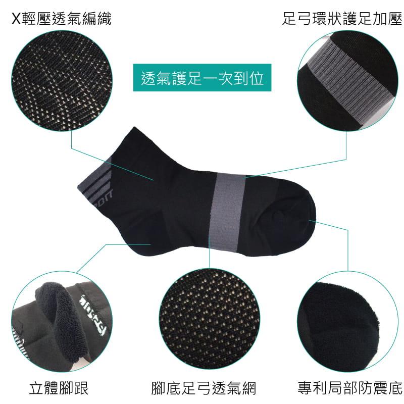 【Peilou】除臭抑菌足弓氣墊短襪-男女款 1