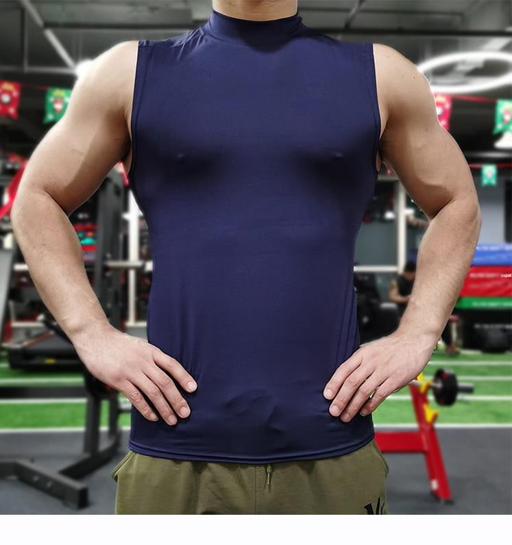 (快速出貨) 男士運動背心無袖緊身速乾運動彈力坎肩健身T恤高領訓練背心 11