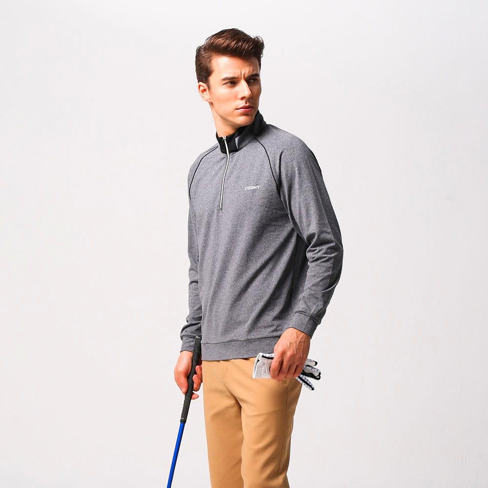 【MEGA COOHT】 男輕刷毛立翻領修身顯瘦經典款運動保暖衫 日本運動熱銷莫蘭迪色 3