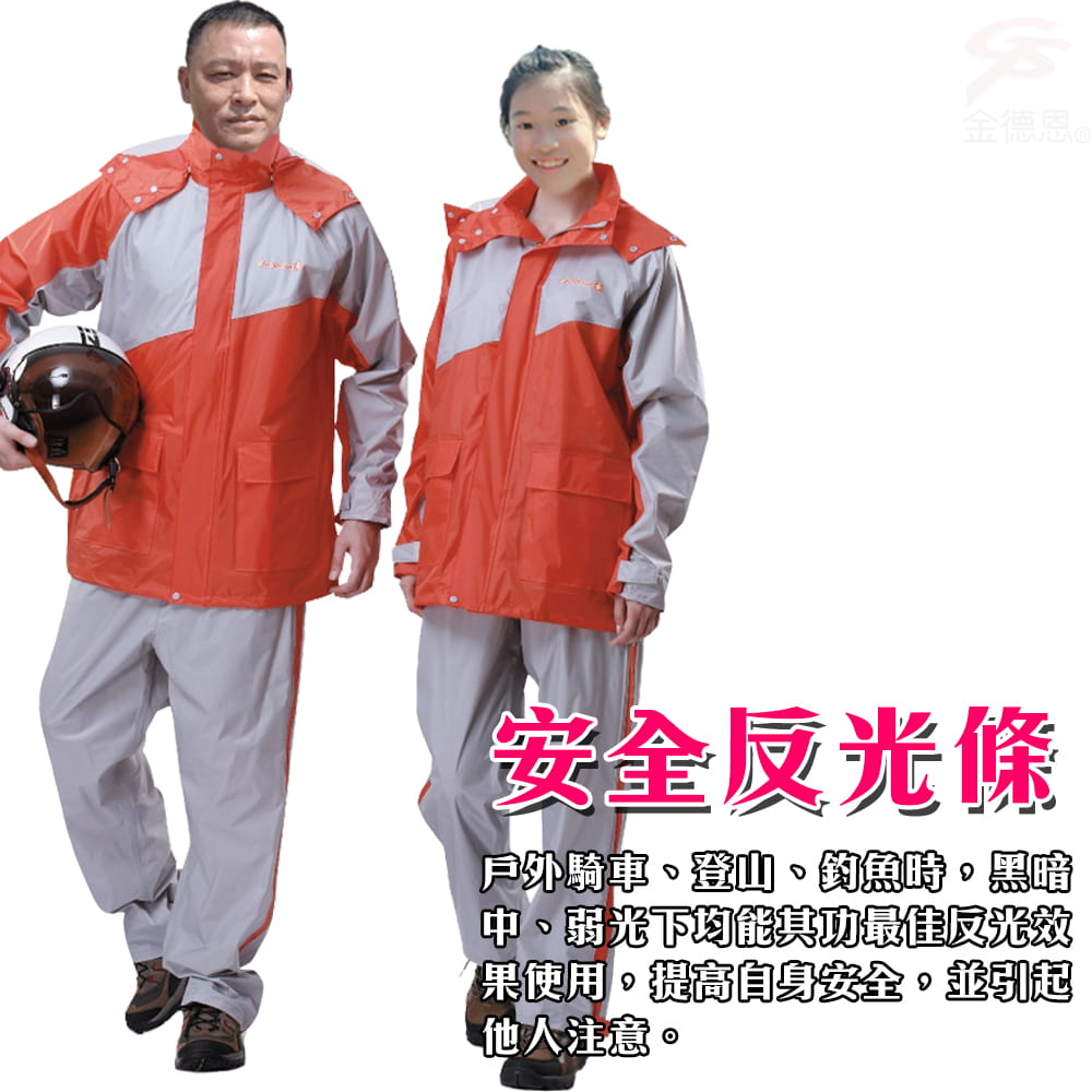 【金德恩】飛馳型兩件式套裝雨衣 2