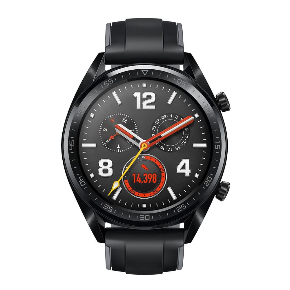 HUAWEI Watch GT GPS智慧手錶-運動款(黑+曜石黑矽膠錶帶)(16MB/128MB)