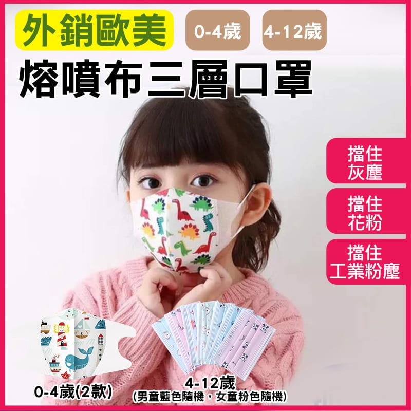 【現貨】外銷歐美 兒童熔噴布三層口罩(非醫療) 50片/盒