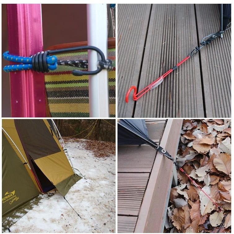 戶外露營天幕帳篷鬆緊彈力繩扣固定掛勾捆綁帶(3入) 2