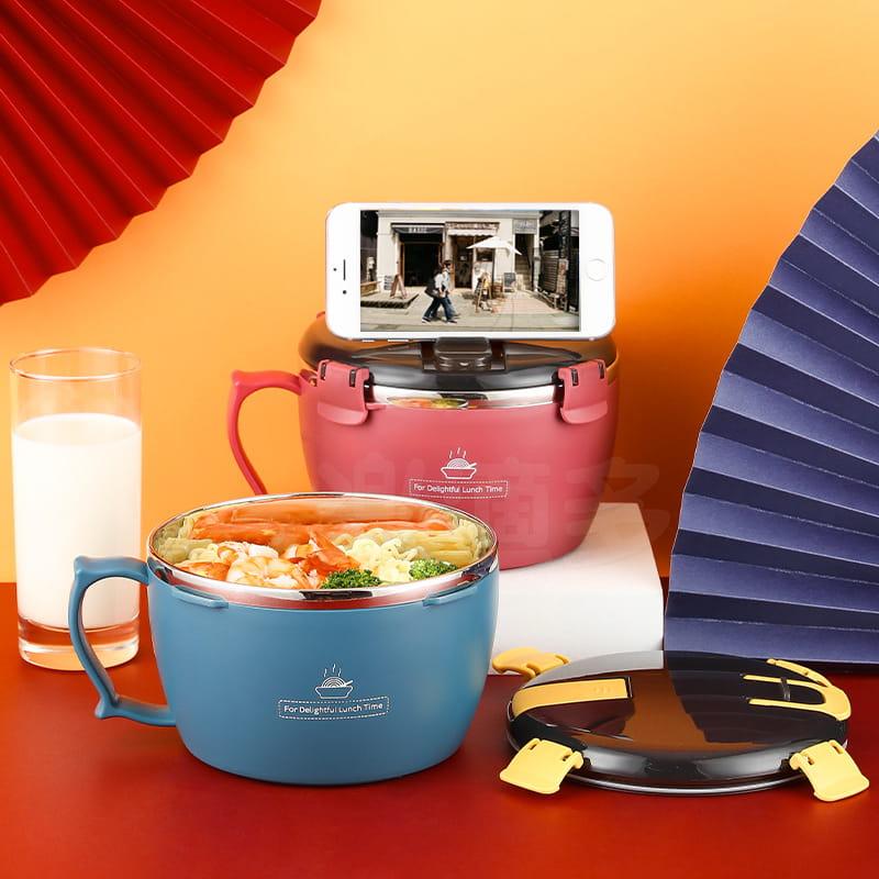 304不鏽鋼密封扣泡麵碗 蓋子可瀝水可當手機架 QF-9138【1300ml】泡麵碗 11