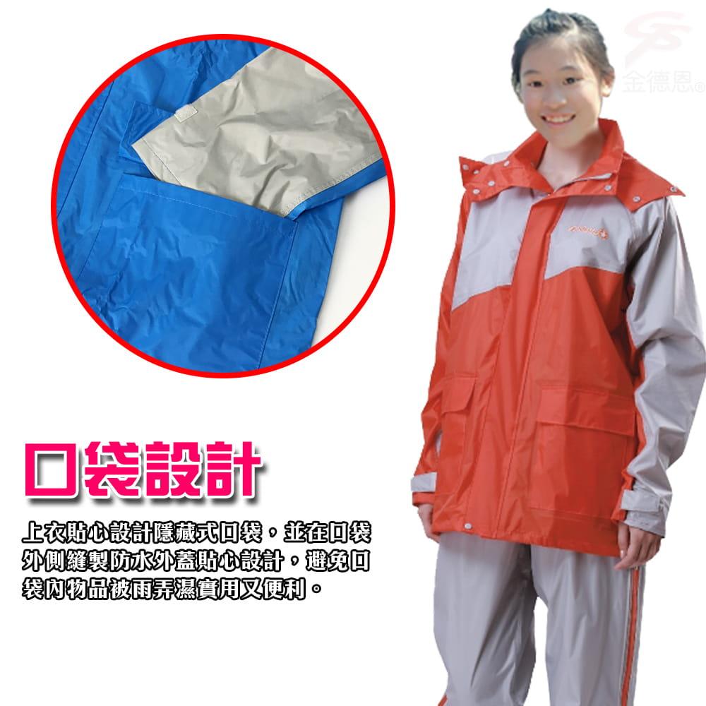 【金德恩】飛馳型兩件式套裝雨衣 9