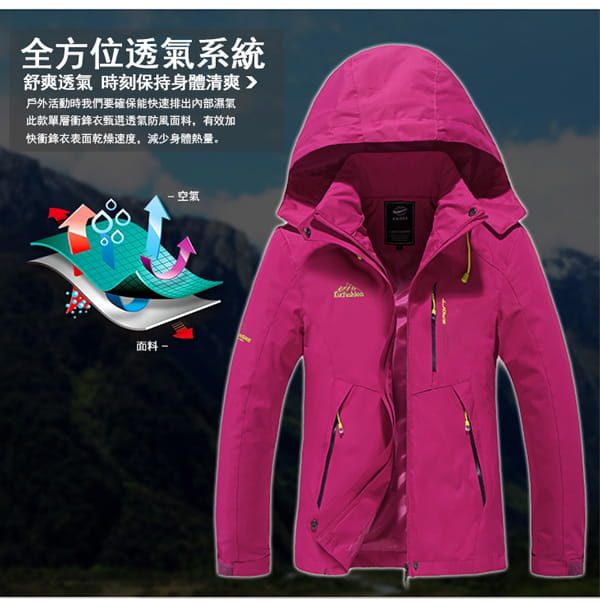 男女戶外機能防風防水衝鋒外套 3